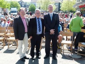Pfr. Boes, Pastor Jung und Pfr. Münker vor dem Open-Air-Gottesdienst